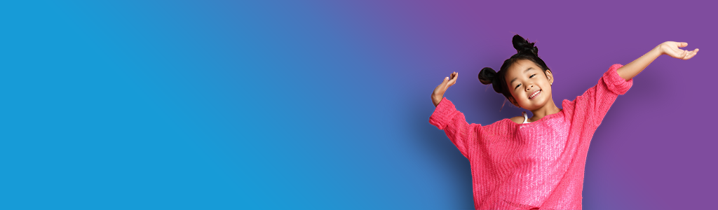 Purple and blue background with girl in pink jumper celebrating